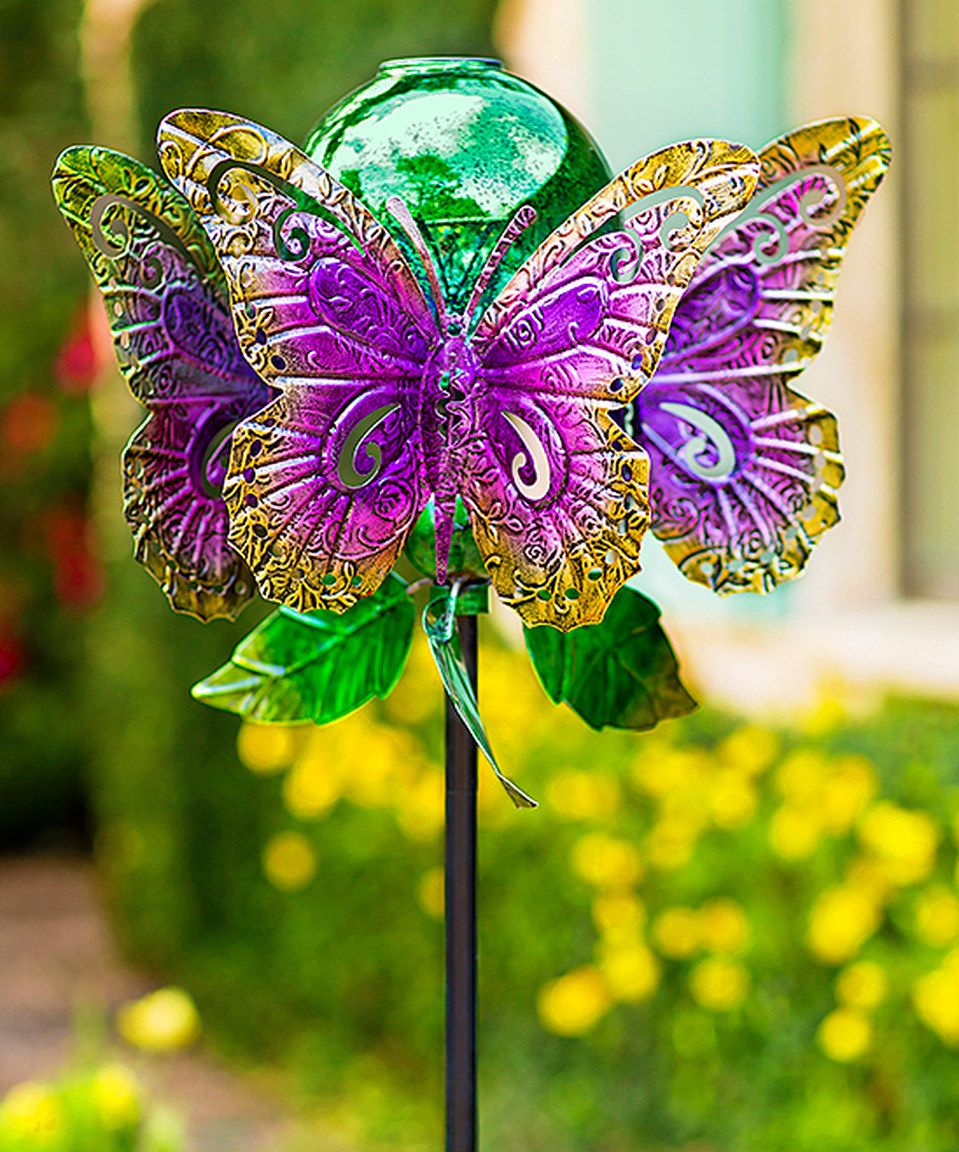 Take a look at this Mercury Glass Orb Butterfly Spinner Garden Décor ...