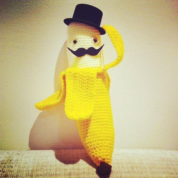 ANNABANANNA Tm Made to order Amigurumi Half Peeled BANANA Gentleman TOPHAT Moustache Knitted Crochet Plush Toy yellow with top hat