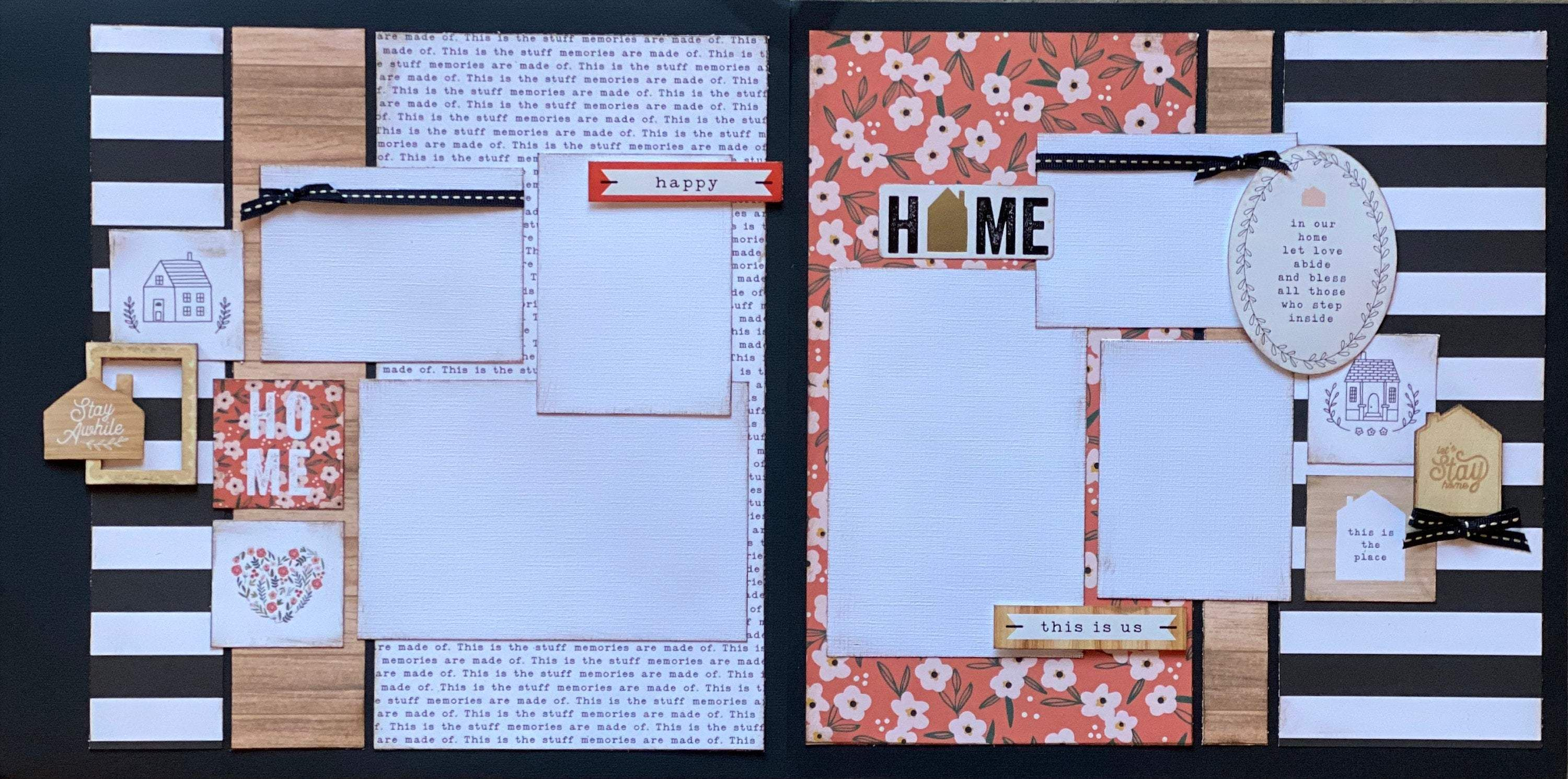 Photo of Stay Awhile – Home 2 page Scrapbooking Layout Kit or Premade Scrapbooking Pages DIY Family craft – DIY Page Kit