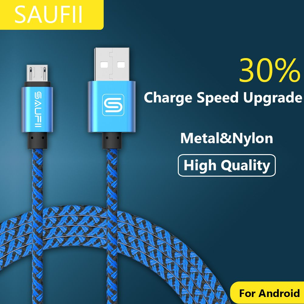 Bestsaufii 2a Metal Braided Nylon Micro Usb Cable Charger Data Sync Travel Xiaomi 2ampere Original Charging Cord For Samsung Galaxy Cell Phonessaufii