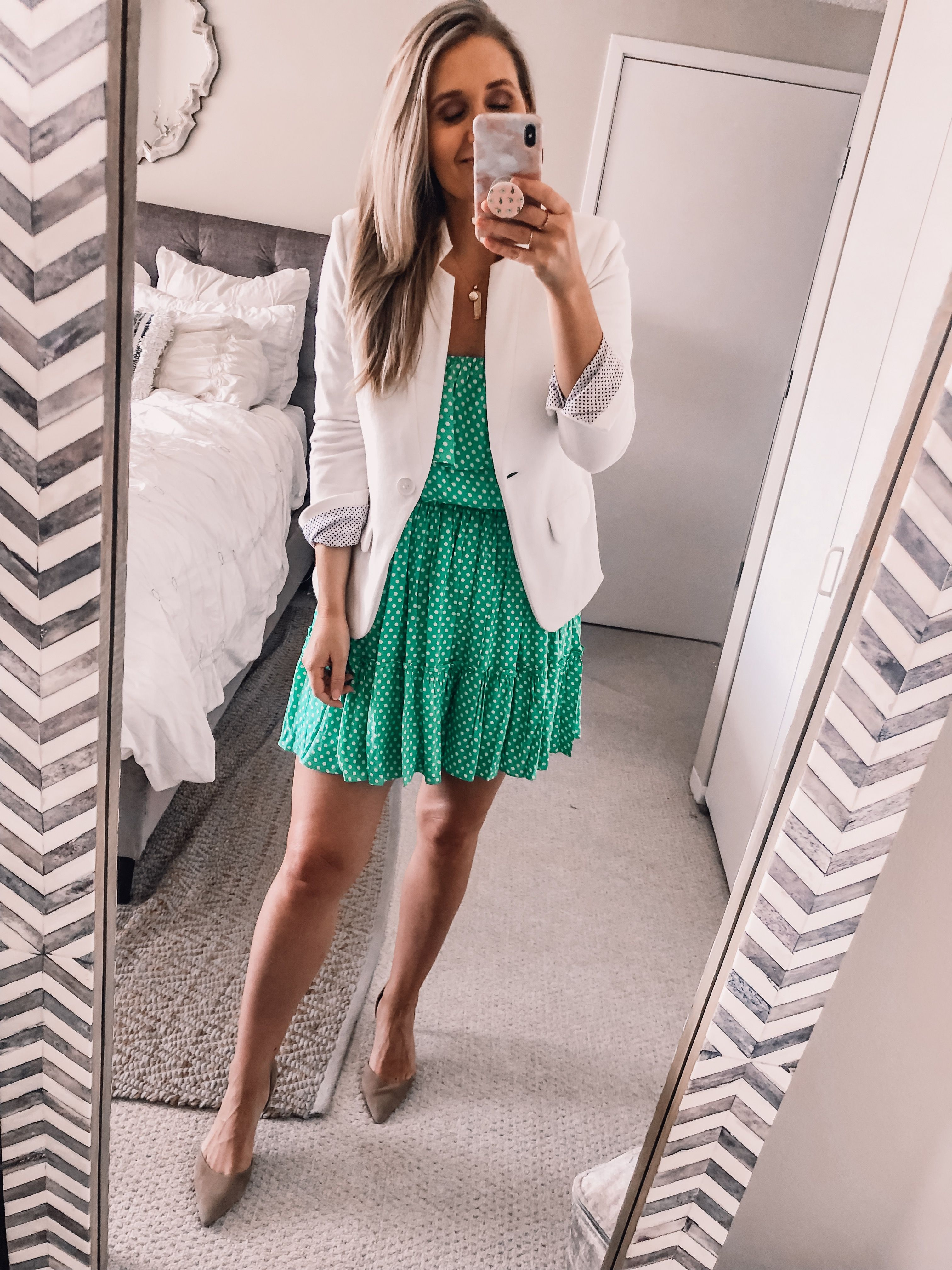 Ootd 5 13 19 How To Make A Dress Work Appropriate Visions Of Vogue Dresses For Work Green Wedding Guest Dresses White Blazer Outfits [ 4032 x 3024 Pixel ]