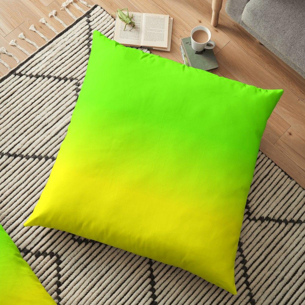 Neon Green And Neon Yellow Ombre Shade Color Fade Floor Pillow