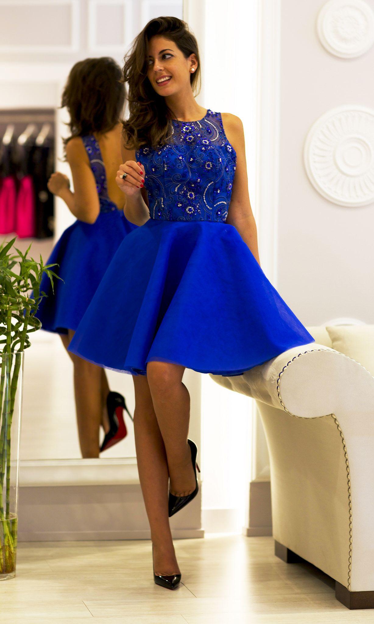 Vestido azul rey para fiesta de dia