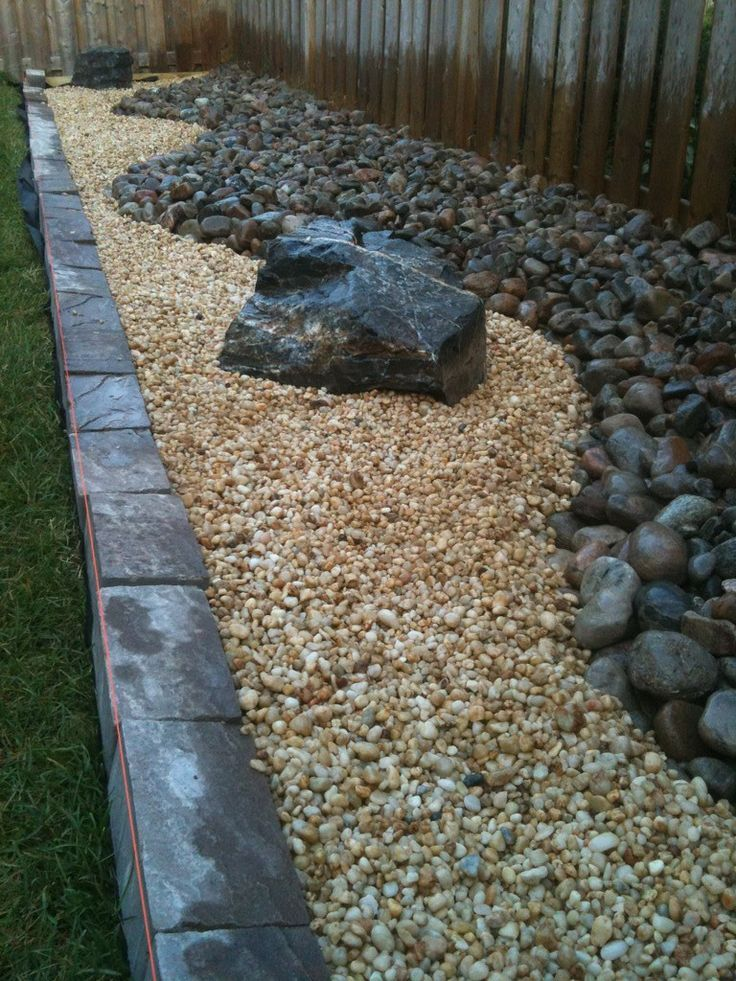 landscaping diy backyard rock river garden with black and cream stone color with stone decoration and - River Rock Design Ideas