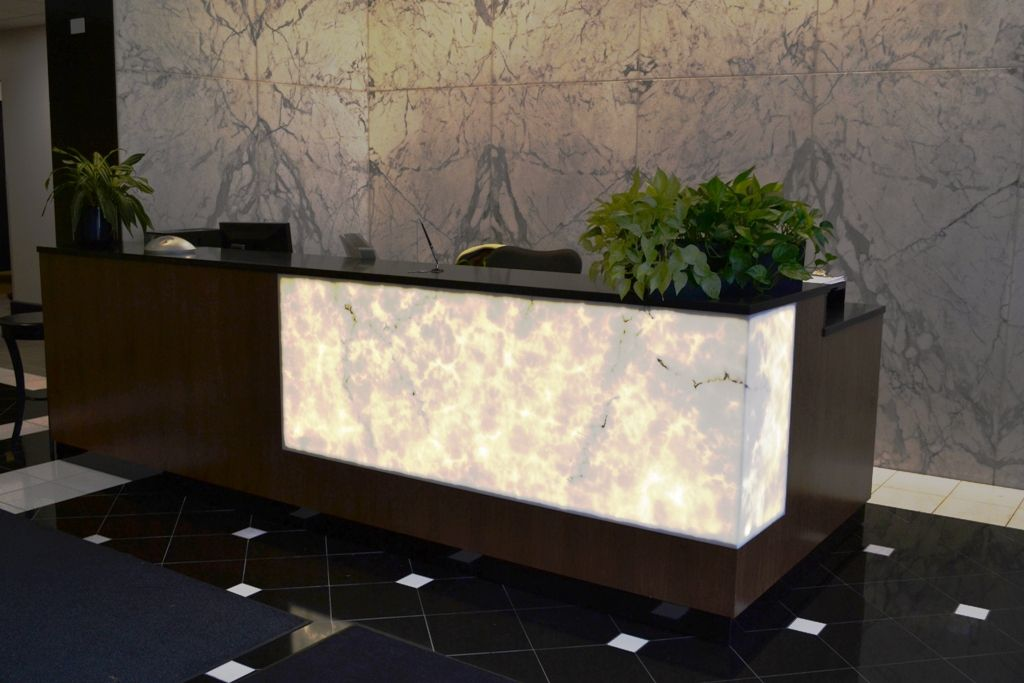 Walnut Reception Desk With Lighted 3form Panel And Quartz