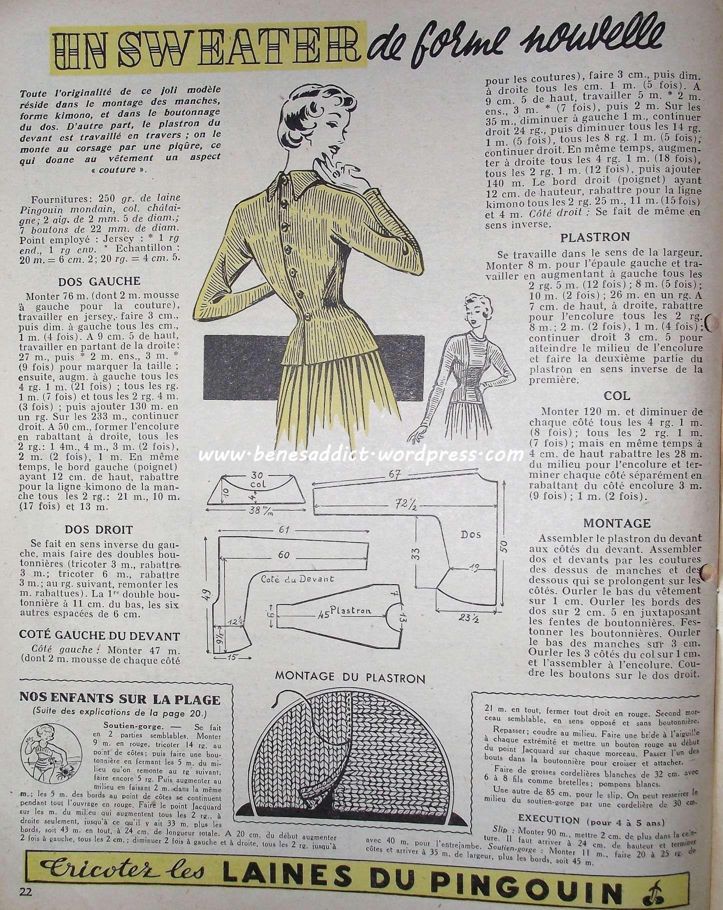 Revue Vintage « Mon ouvrage » Juillet 1950 en intégralité, avec ...