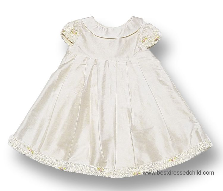 Biscotti Baby Toddler Girls Ivory Silk Dresses With Cap Sleeves