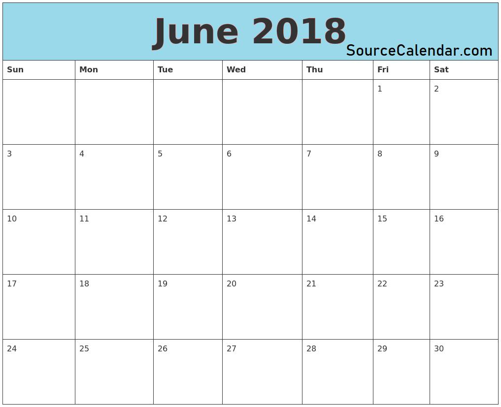 june 2018 blank printable calendar