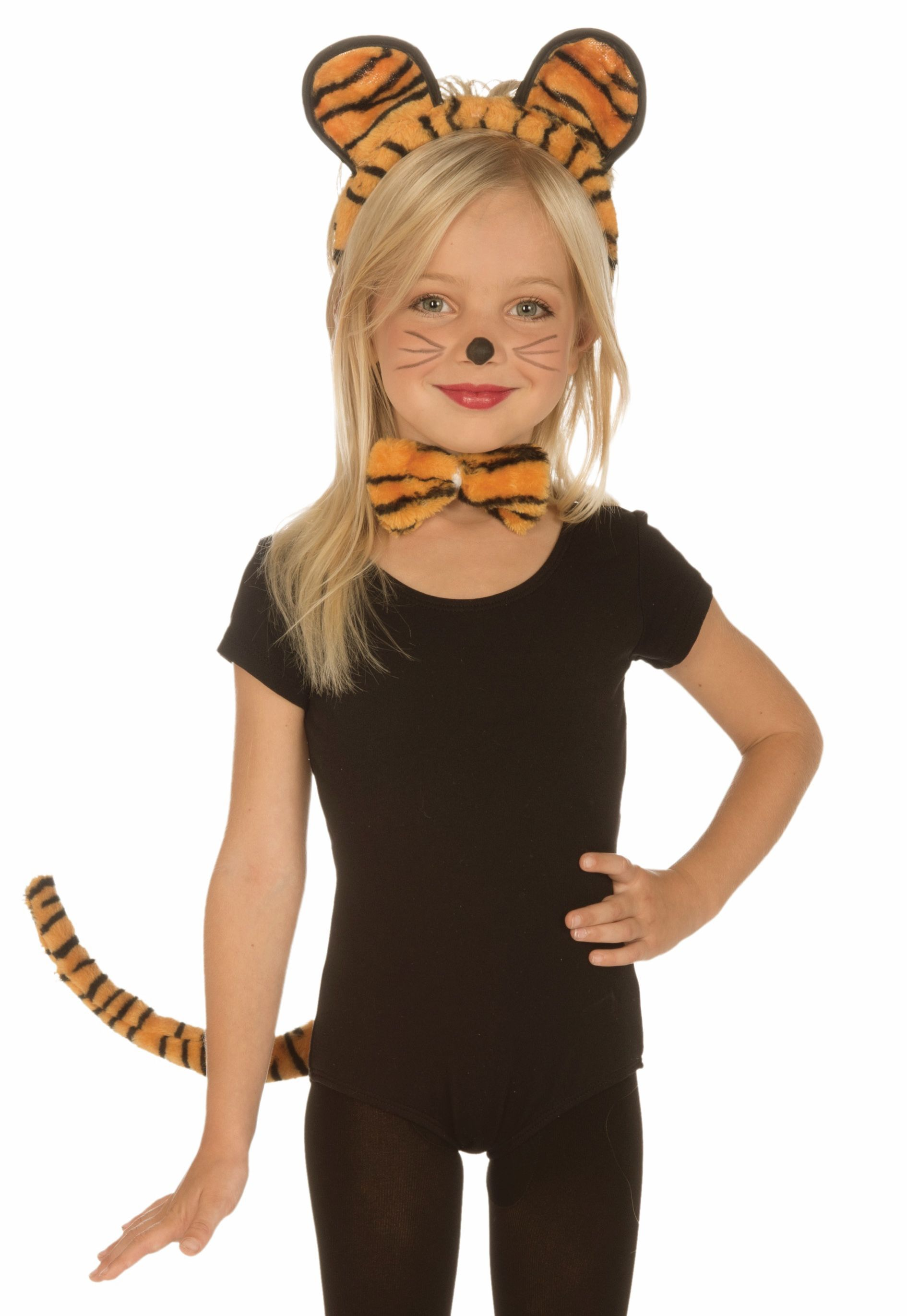Childs Boy Girl Dress Up Animal Tiger Leopard Ears Tail Bow Tie Outfit Free Post