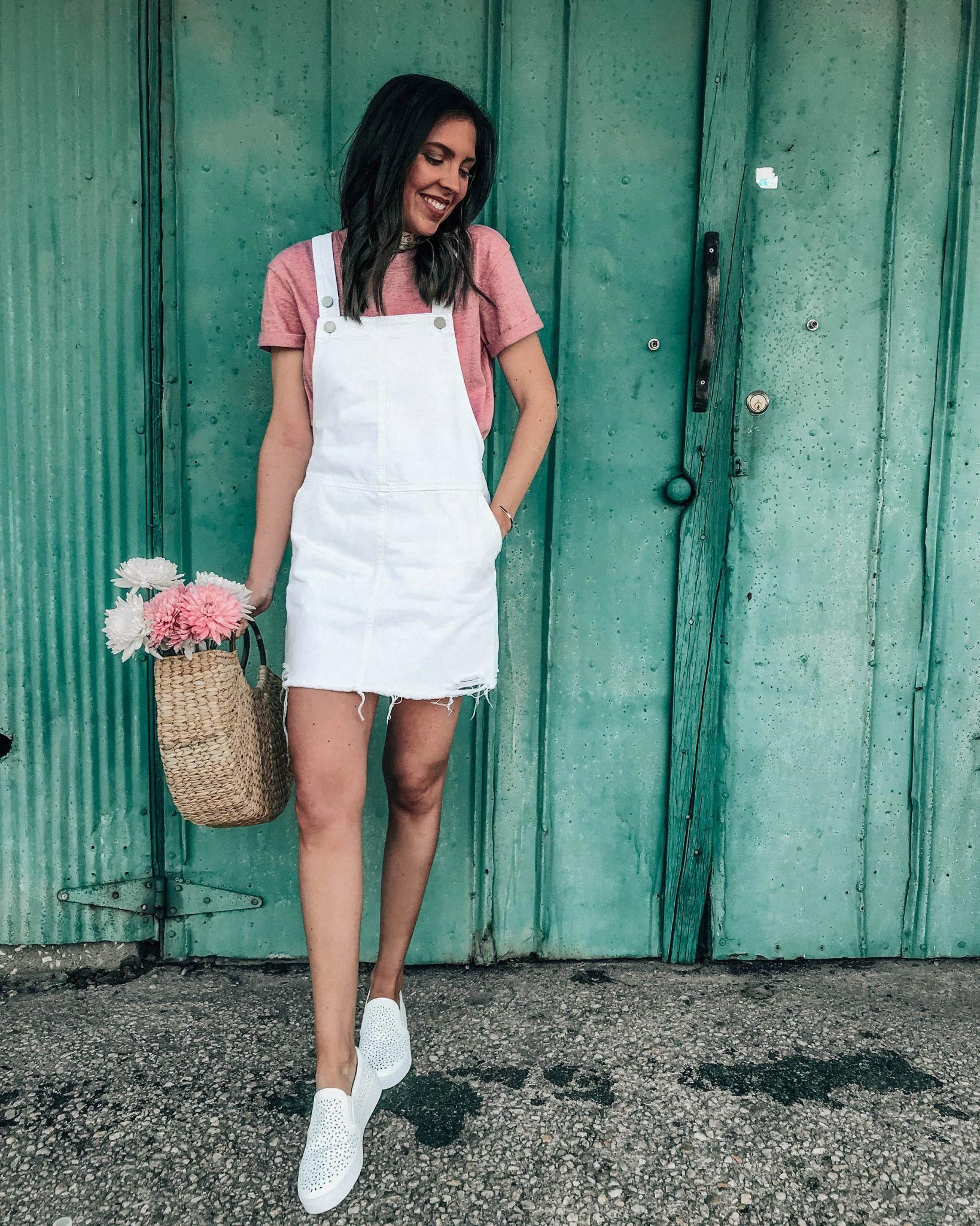 51e1d6bd56c Style Diary 4.8 White Denim Overall Dress with Perforated Slip on Sneaker   summerfashionoutfits