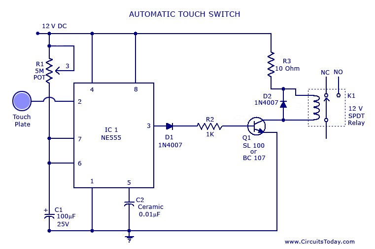 Touch Switch Circuit Electronica Circuitos Electricidad