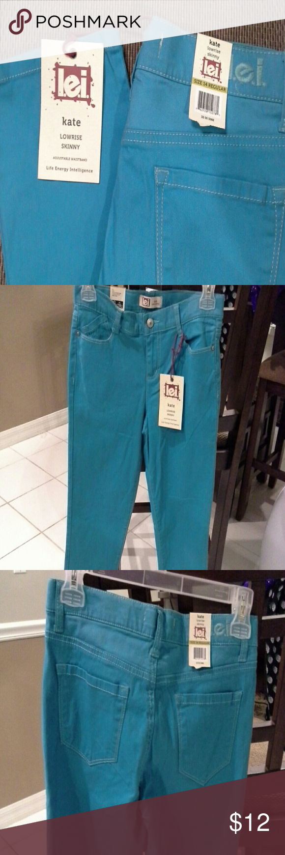 l.e.i.  jeans The color is called rio splash.  The picture kept coming blue, but its more of blue/green. lei Jeans Skinny