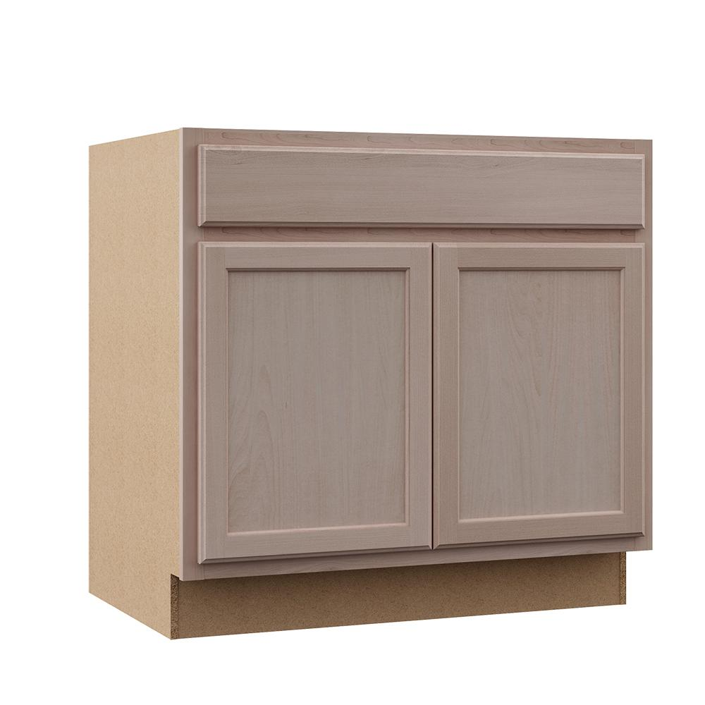 Hampton Bay Hampton Assembled 36x34 5x24 In Base Kitchen Cabinet In Unfinished Beech Kb36 Uf The Home Depot Unfinished Kitchen Cabinets Base Cabinets Solid Oak Doors
