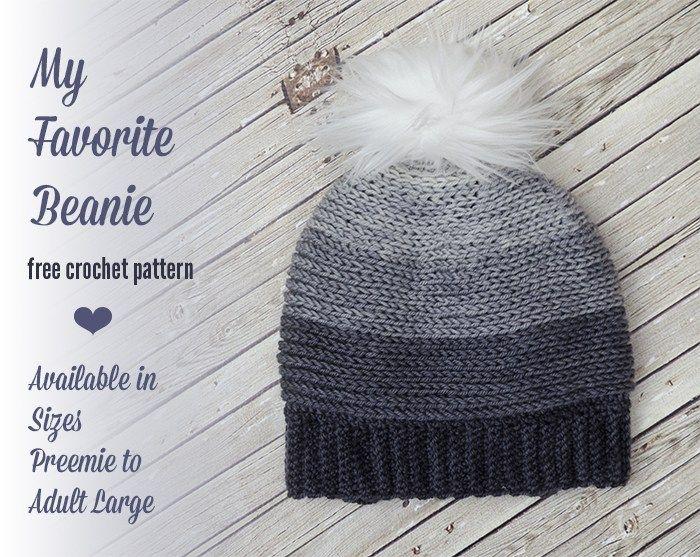 My Favorite Beanie – Free Crochet Pattern in Several Sizes! | Tejido