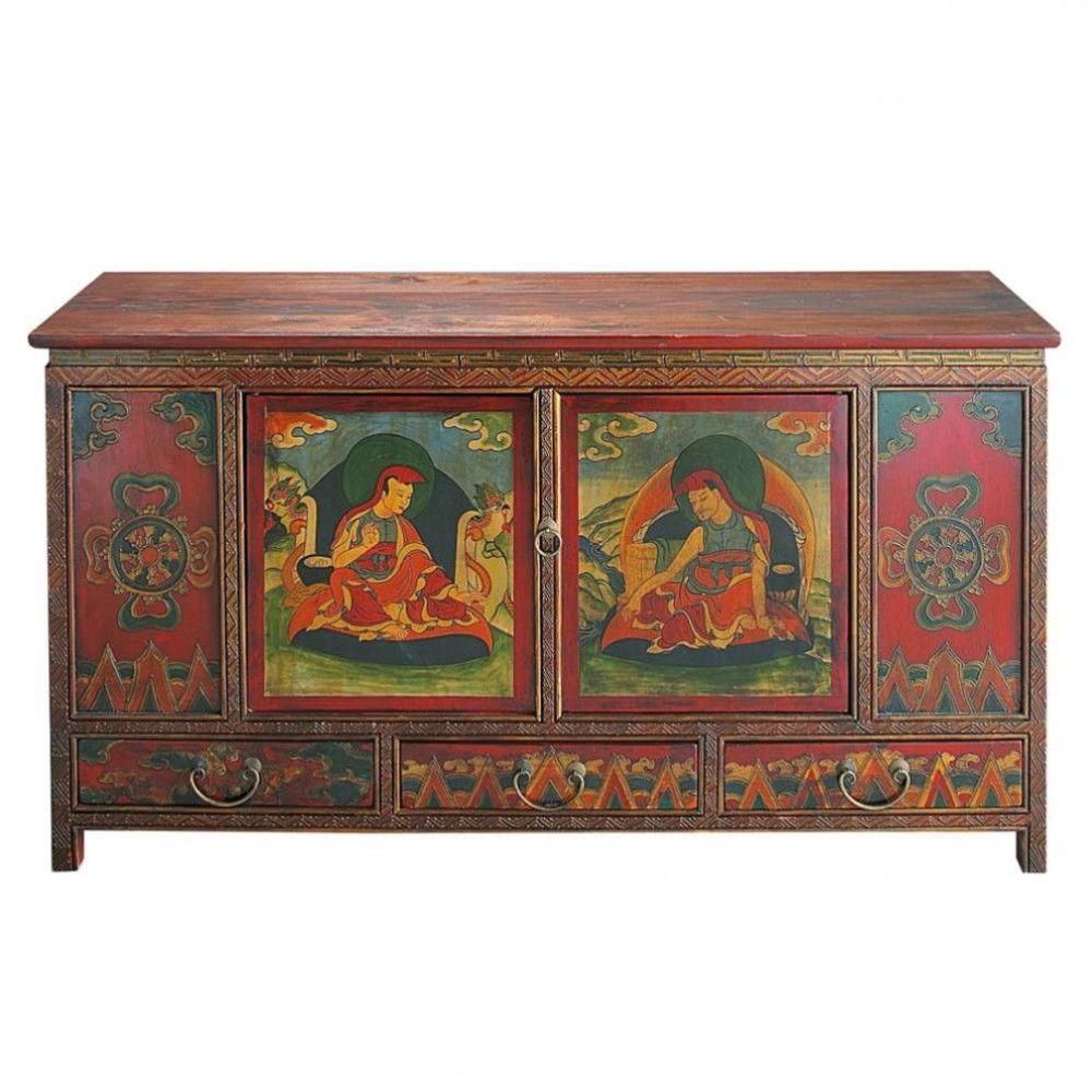 Cajonera India De Madera De Colores An 120 Cm Salon Parfait  # Muebles Tibetanos