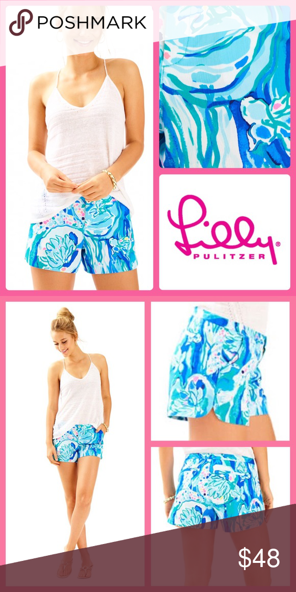 d65a7212dab1f9 2017 Lilly Pulitzer Adie Short Aquatic Garden NWT The Adie Short is a 4  inch printed short in the newest length at Lilly. These shorts have front  pockets ...