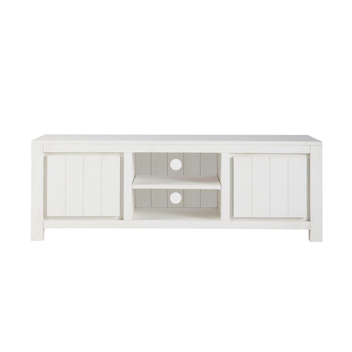 meuble tv en bois massif blanc l 145 cm white - Meuble Tv White Maison Du Monde