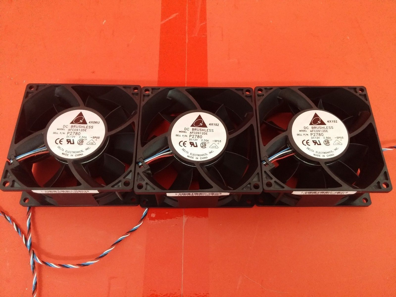 Lot 3x DELL GX280 P2780 Delta AFC0912DE Extreme Hi Fan 5-pin 4-wire DC BRUSHLESS