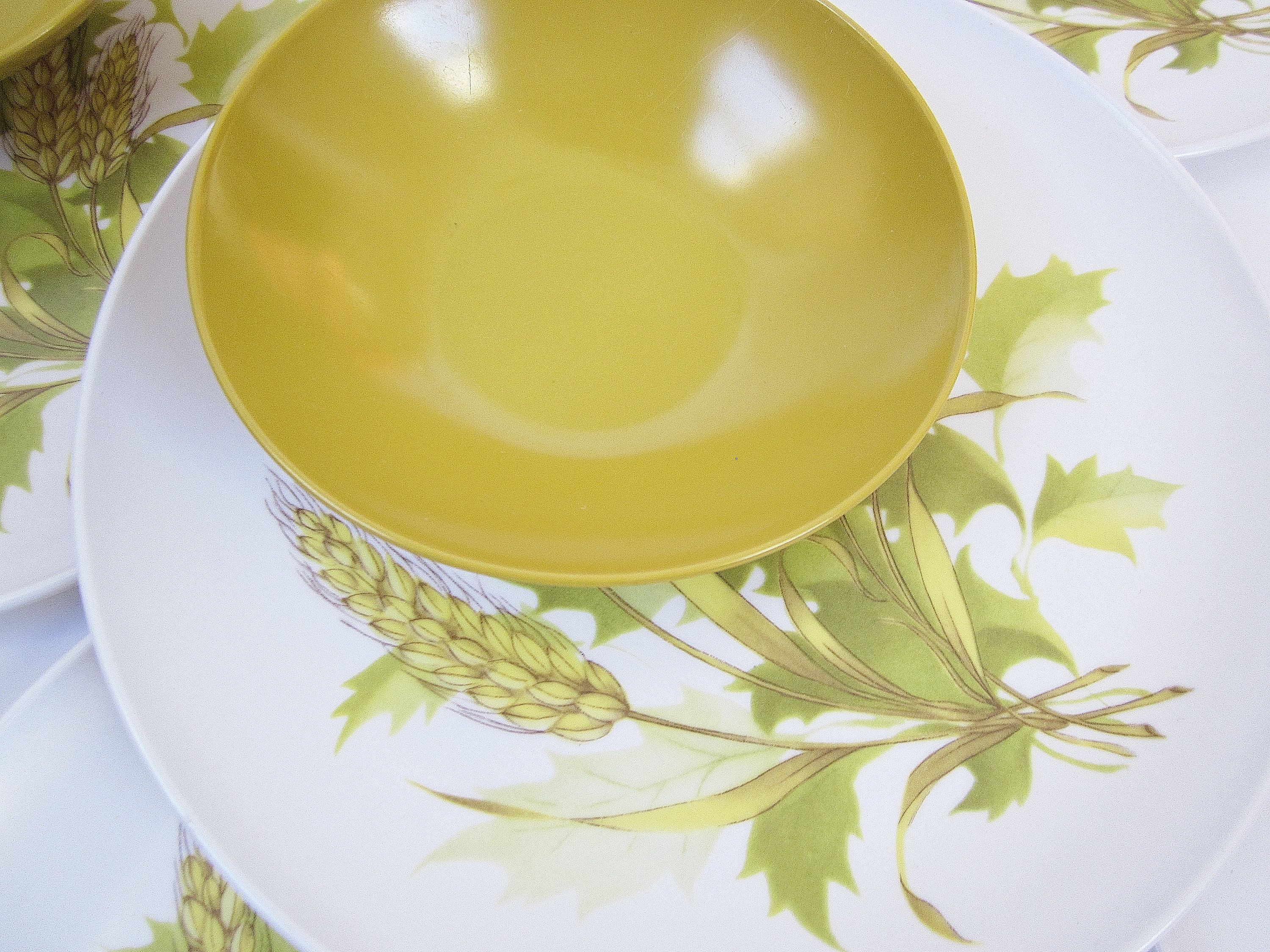 Harvest Wheat & Golden Yellow Plastic Plates And Bowls Set Mid Century Melamine Or Melmac Style Serving Dishes 1960's Casual Dinnerware