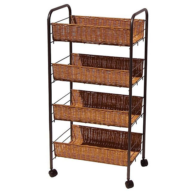 Wicker 4 Tier Storage Cart Ping The Best Prices On Organize It All Stands Carts