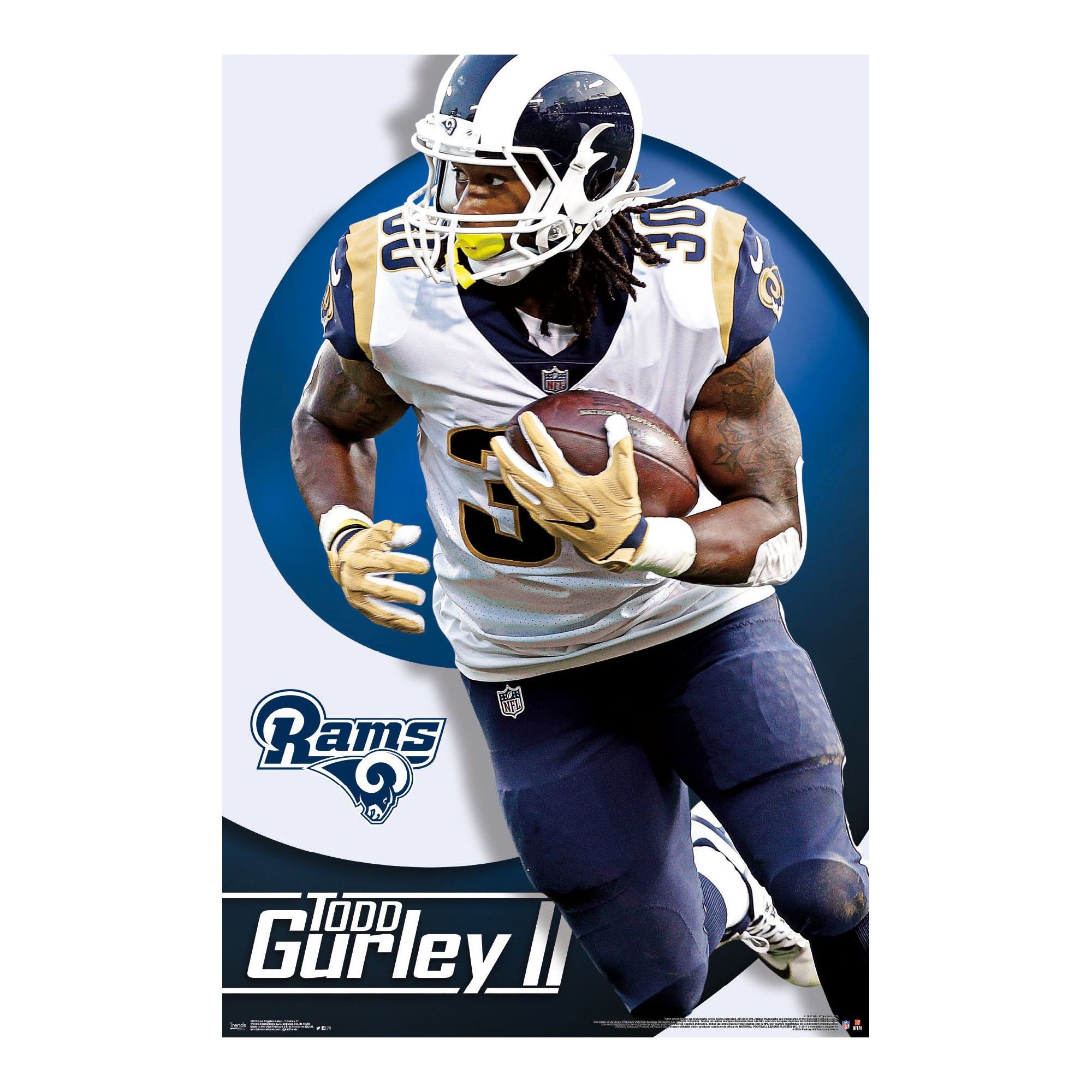 Los Angeles Rams Todd Gurley Unframed Wall Poster Great Nfl Running Backs Official Nfl Football Football Fantasy Football
