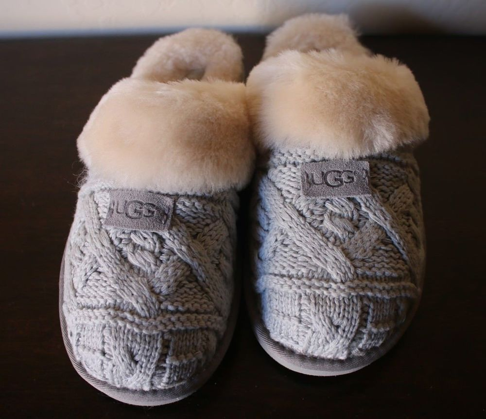 48e6353e63a UGG Sheepskin Cozy Cable Knit Slippers Seal Gray 1019666 Women s Size 11  NWOB  UGGAustralia  Scuffs