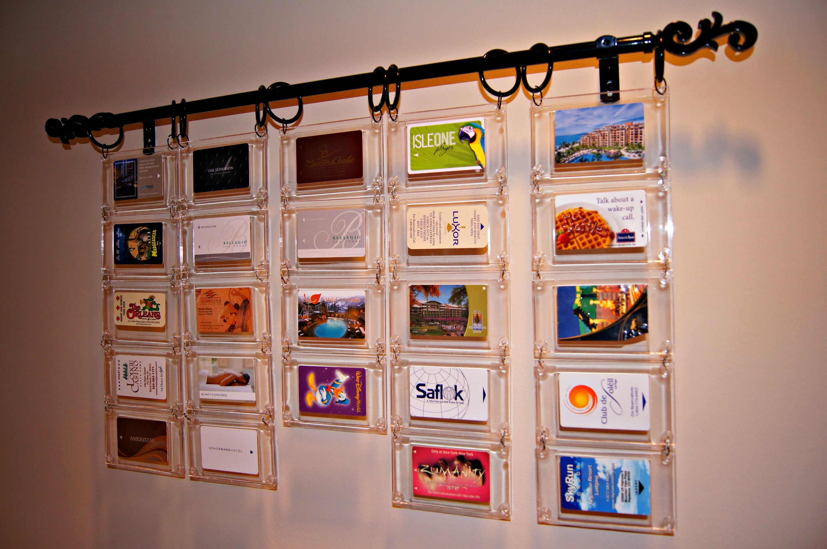 I Like Collecting Hotel Key Cards From Our Travels This Is An Idea I Came Up With To Display Them Wh Hotel Key Cards Hotel Card Business Cards Collection