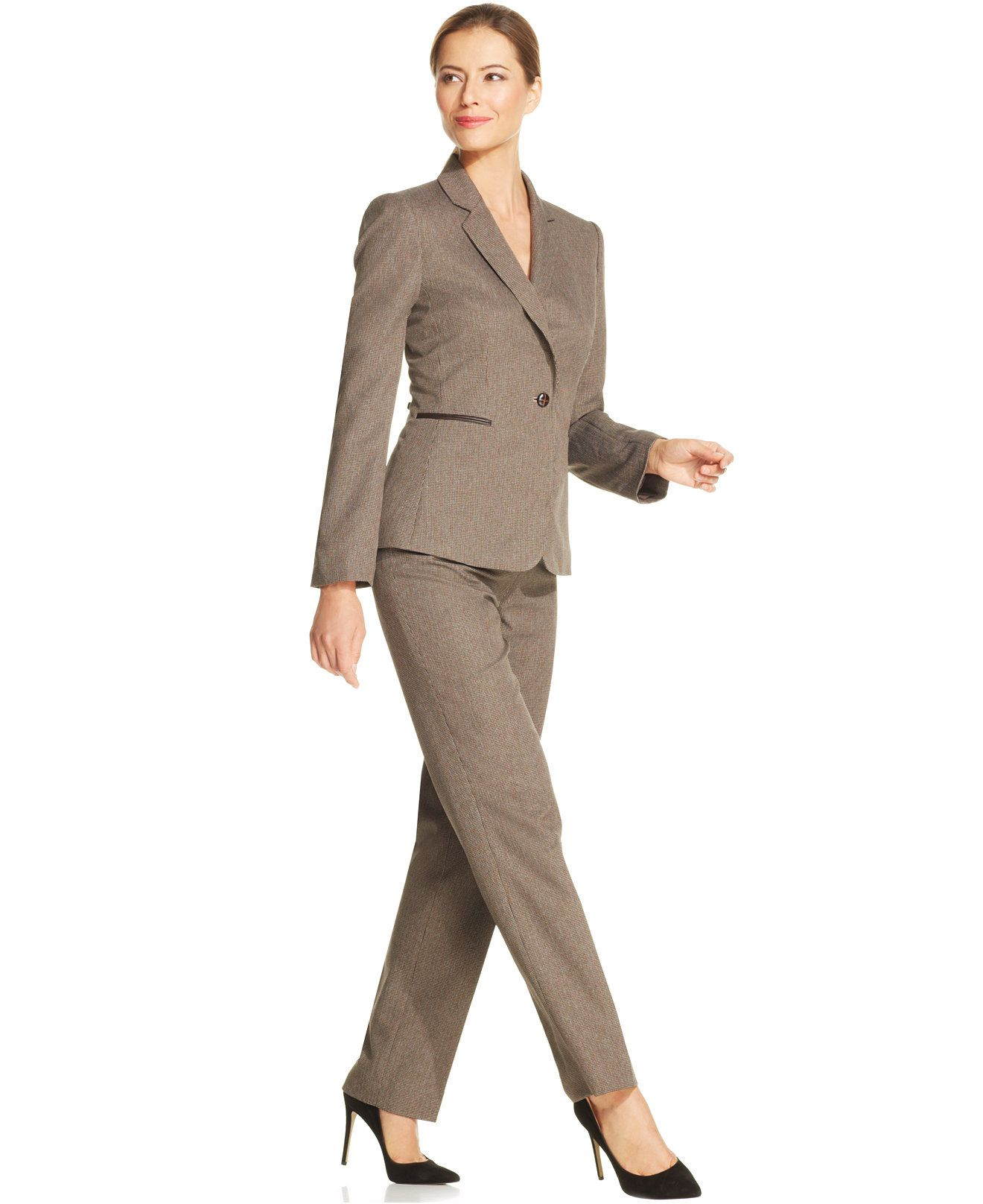 Tahari Asl Single Button Checked Pantsuit Wear To Work Women