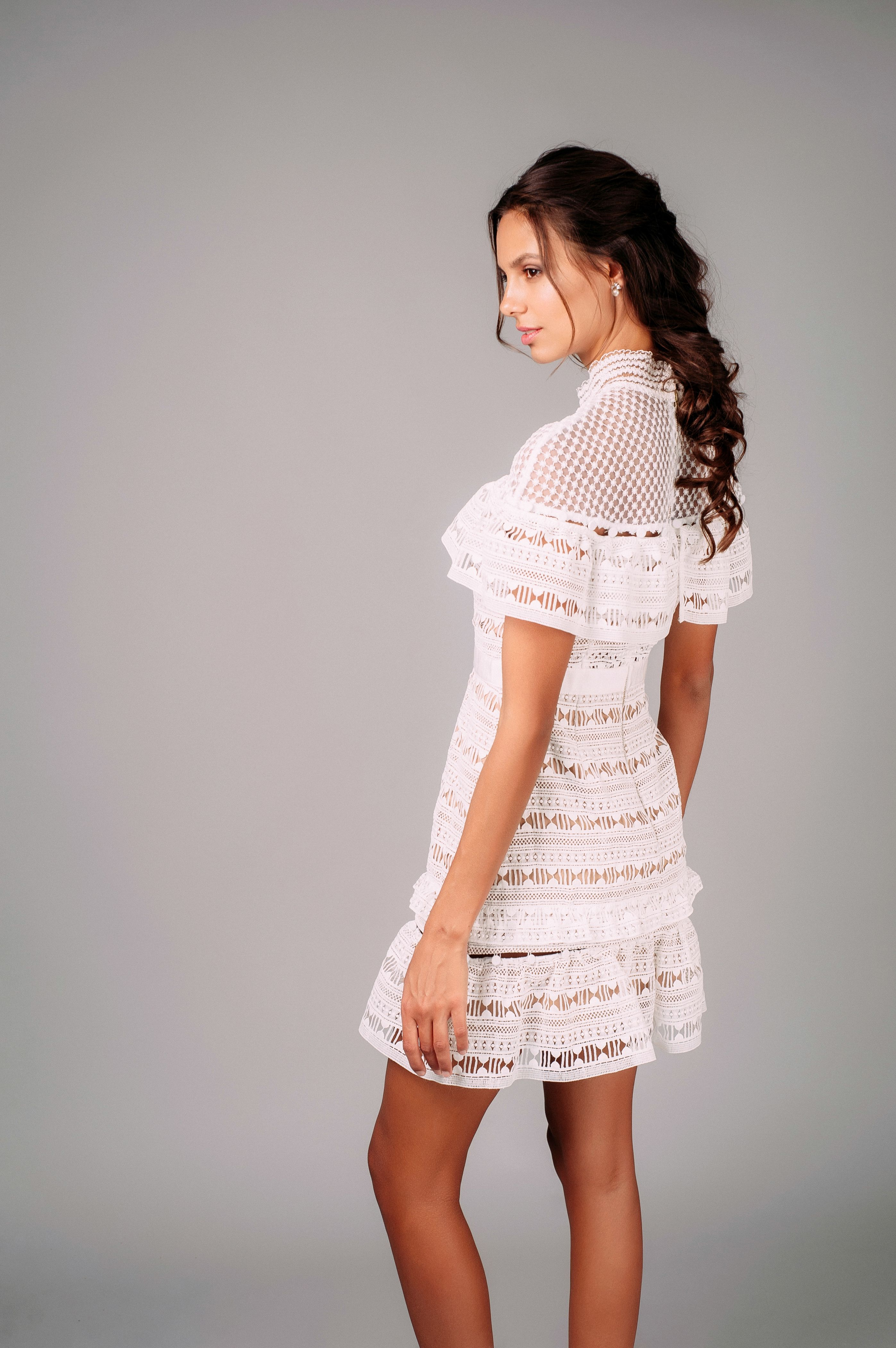 f5e3ba0952ace Yoke Frill Mini dress from Self-Portrait featuring a fitted bodice and an A-
