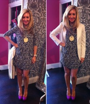By Malene Birger Dalise Printed Dress, By Malene Birger Cream Almondia Blazer, By Malene Birger Raspberry Court Shoes, By Malene Birger Gold Stone Ambra Necklace