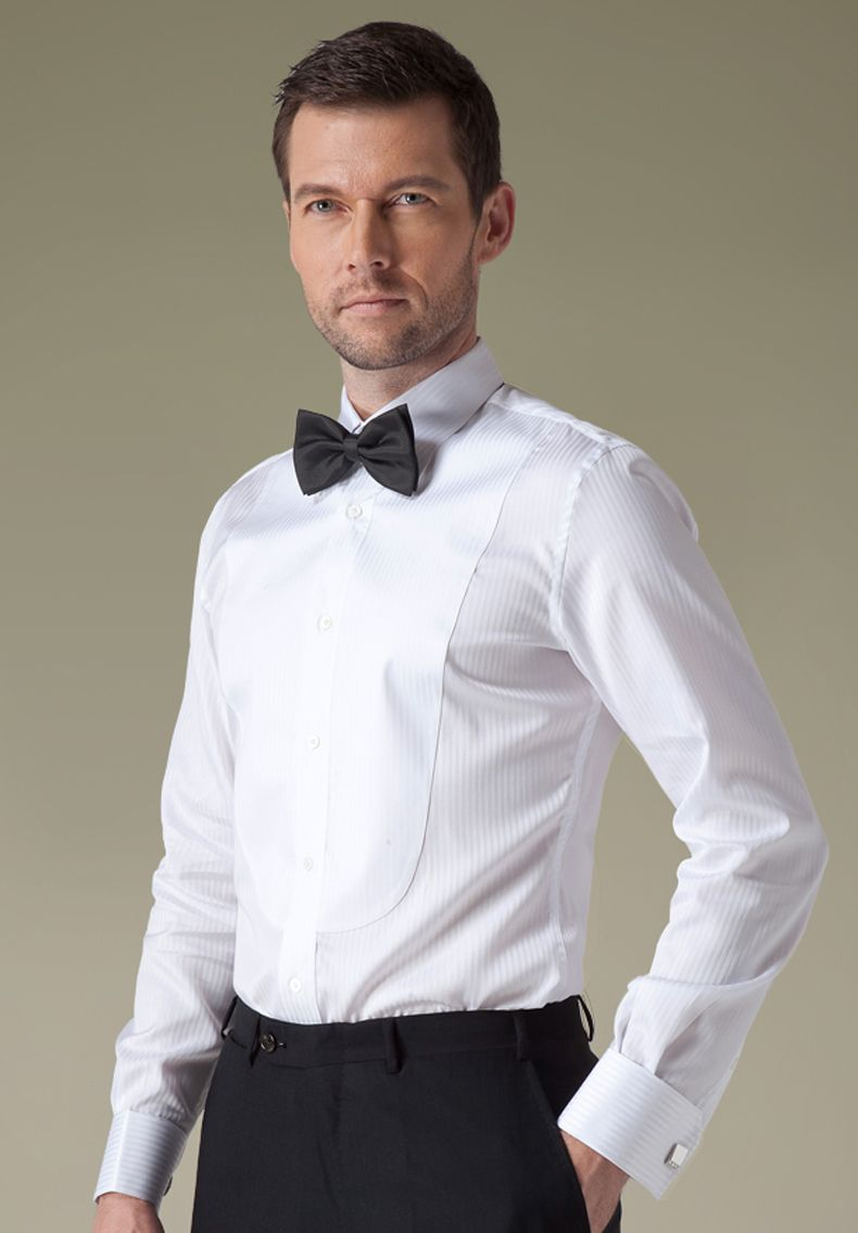 This white tuxedo shirt is made of 100 non ironing 100 cotton tuxedo shirt