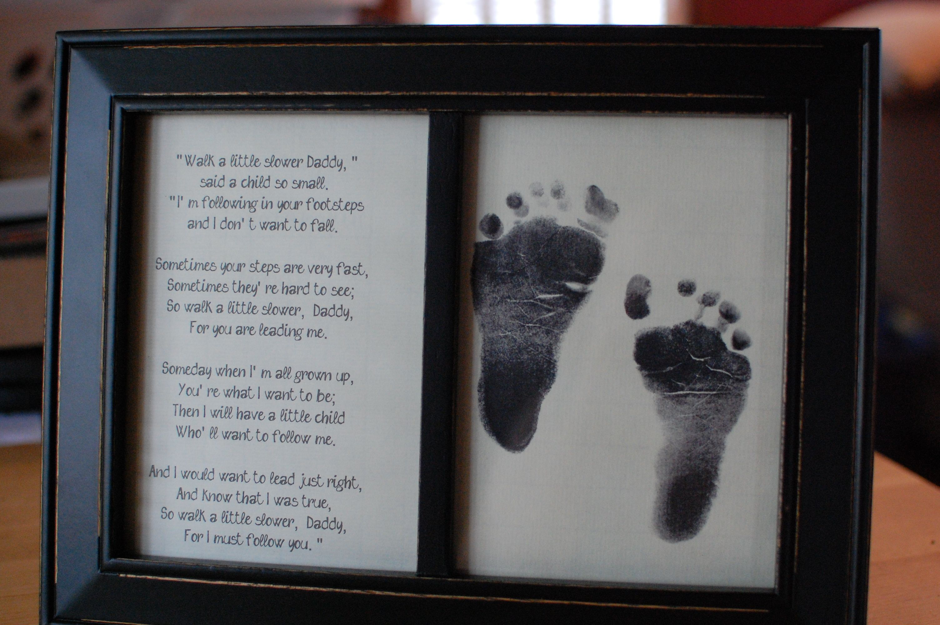 Fathers Day Framed Footprint Gift With Poem Walk A Little Slower
