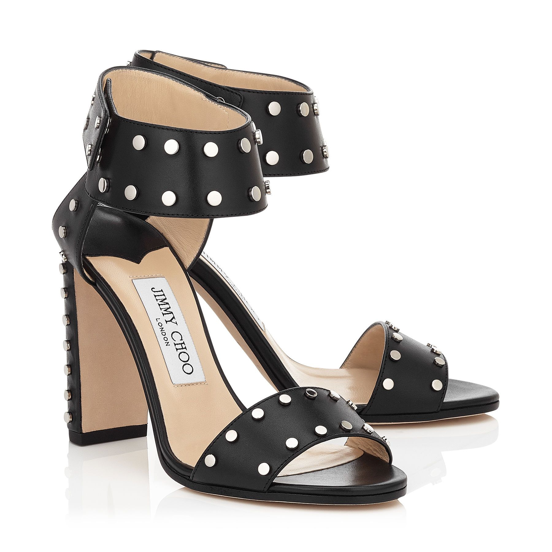 Veto 100 Sandals in Black Shiny Leather with Silver Studs. Discover our Pre  Fall 16 Collection and shop the latest trends today.