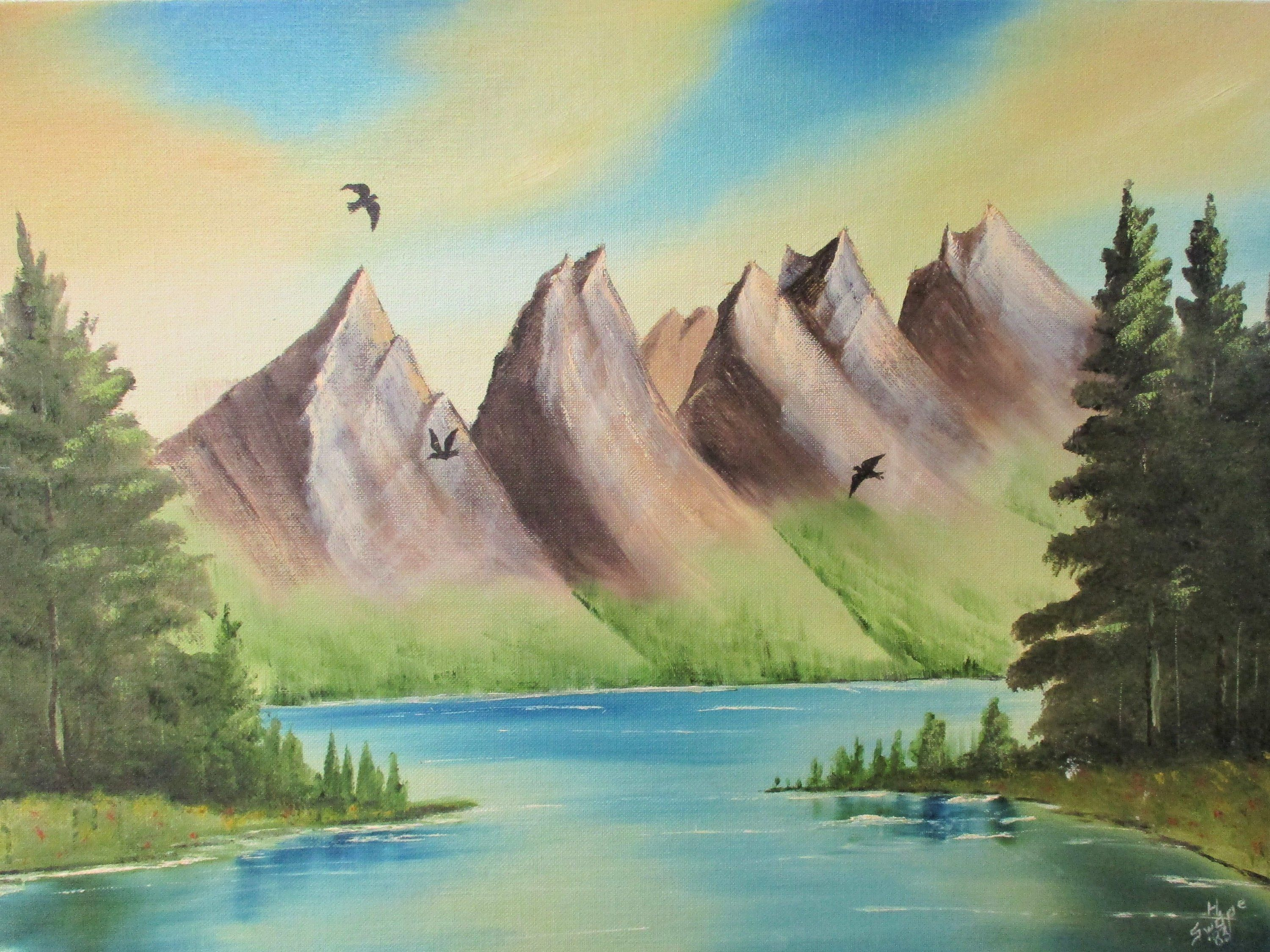 Vintage Landscape Painting Original Signed Mountains Sun Rise Set Sky Trees River Lake Yellow Blue Ha Vintage Landscape Landscape Paintings Mountain Paintings