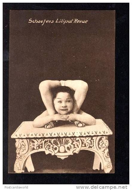 1907 picture postcard/pitchcard from Schaefer's Lilliput Revue contortionist little person.