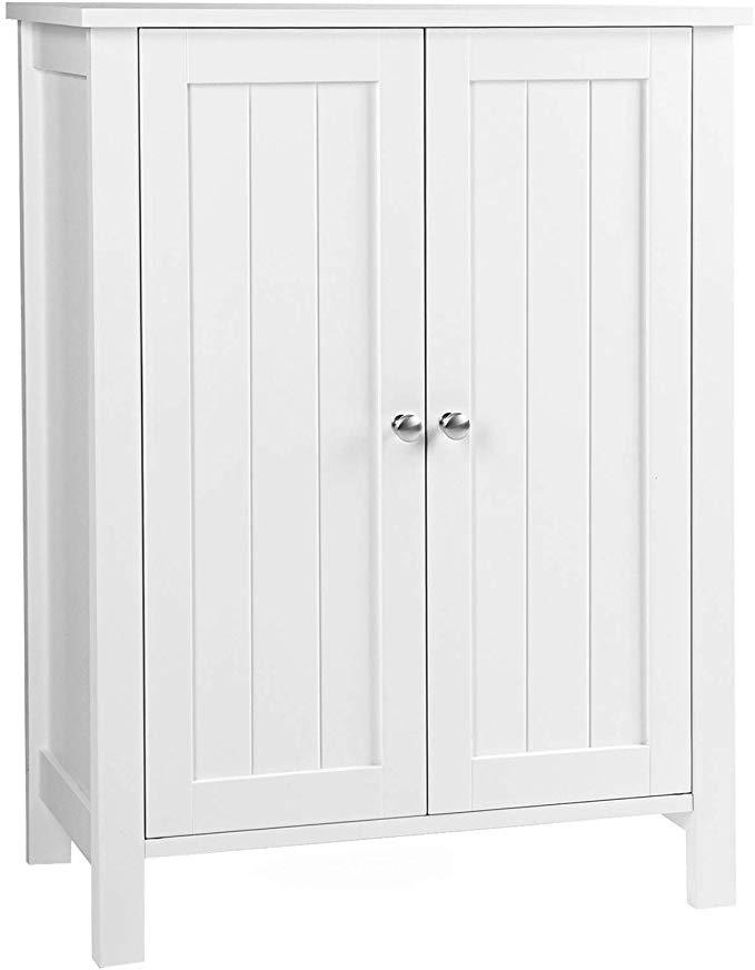 Amazon Com Vasagle Bathroom Floor Storage Cabinet With Double