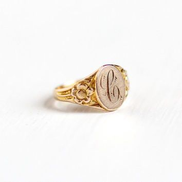 Vintage Art Deco 10k Yellow Gold Letter C Signet Baby Ring 1930s Size 1 3 Initial Monogrammed P Monogram Ring Gold Signet Rings Women Antique Rings Vintage