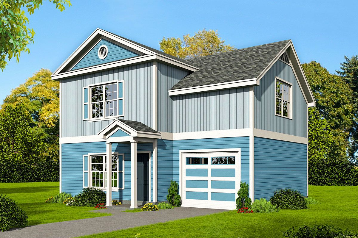 Plan 68573vr Delightful 2 Bed Traditional Home Plan With One Car Garage Traditional House Plans House Plans Traditional House