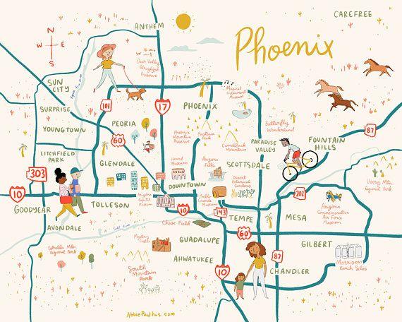 Map Of Arizona Gilbert.Phoenix Map Art Print 8x10 Illustrated Arizona Poster 8x10 11x14
