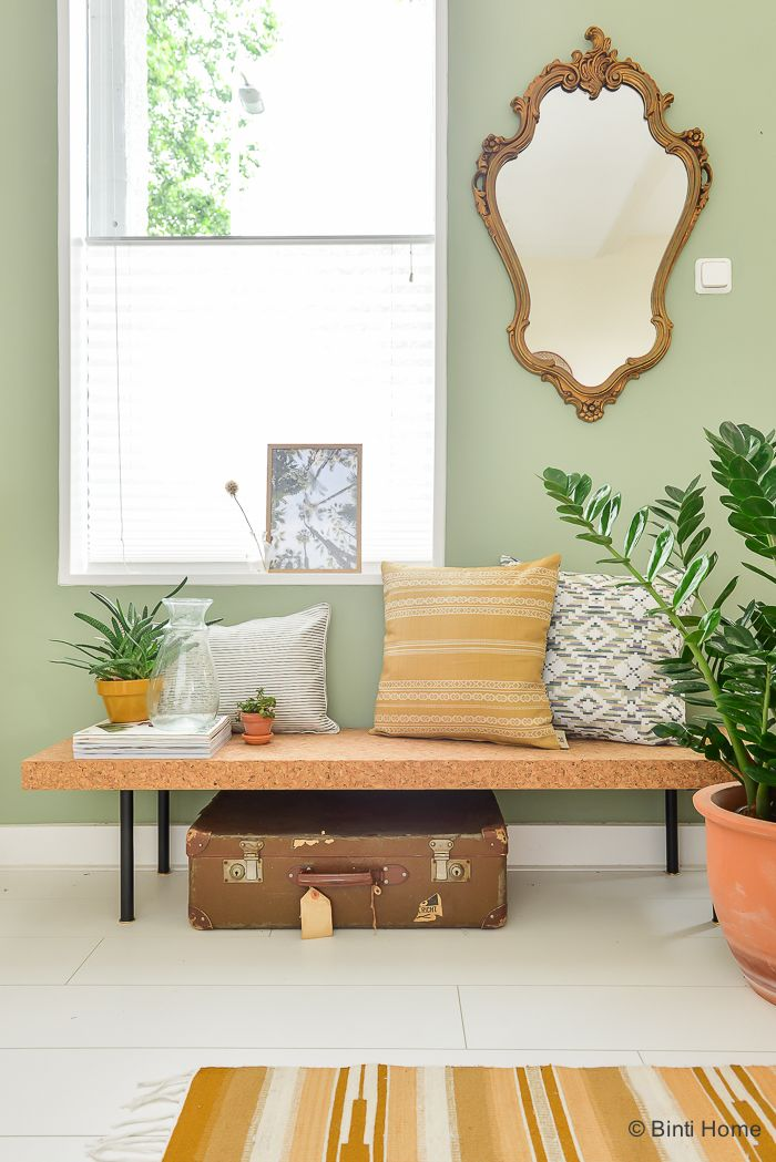 Pastel Green Wall Cork Covered Bench From Ikea Vintage Accessories Bright Ecclectic Living Room