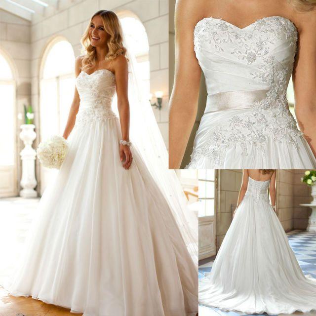 Neu Weiß/Elfenbein Brautkleid Hochzeitskleid Ballkleid Gr 32 34 36 ...