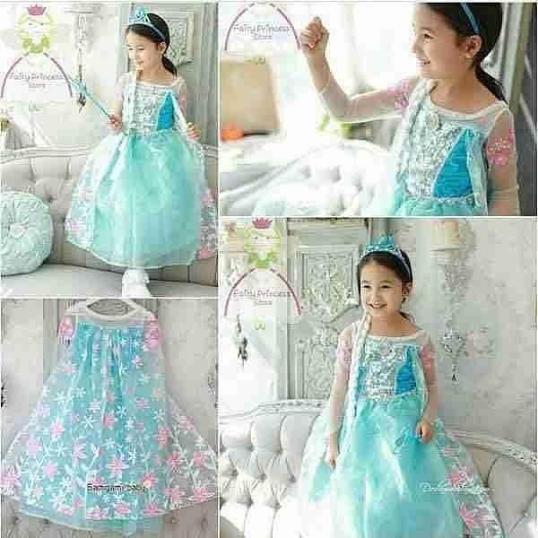 Dress Elsa Sayap Flower Pink Dress Frozen Blue Pink Cosplay Frozen Elsa Baju Pesta Anak Model Elsa Frozen Flower Girl Dresses Girls Dresses Wedding Dresses