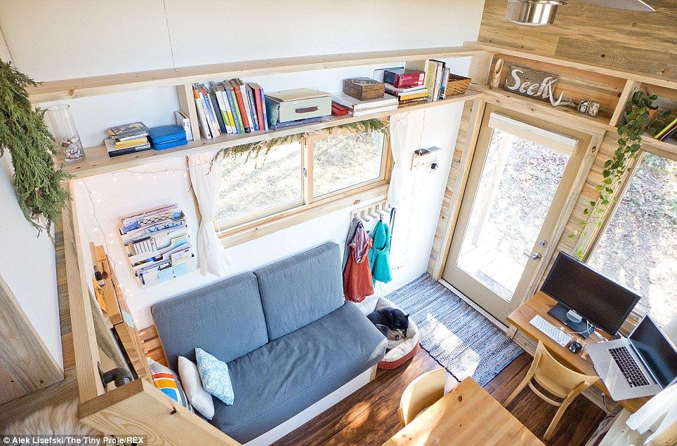 Tiny and tidy: Alek believes living in such a small space will force him to live in a simpler and more organised way