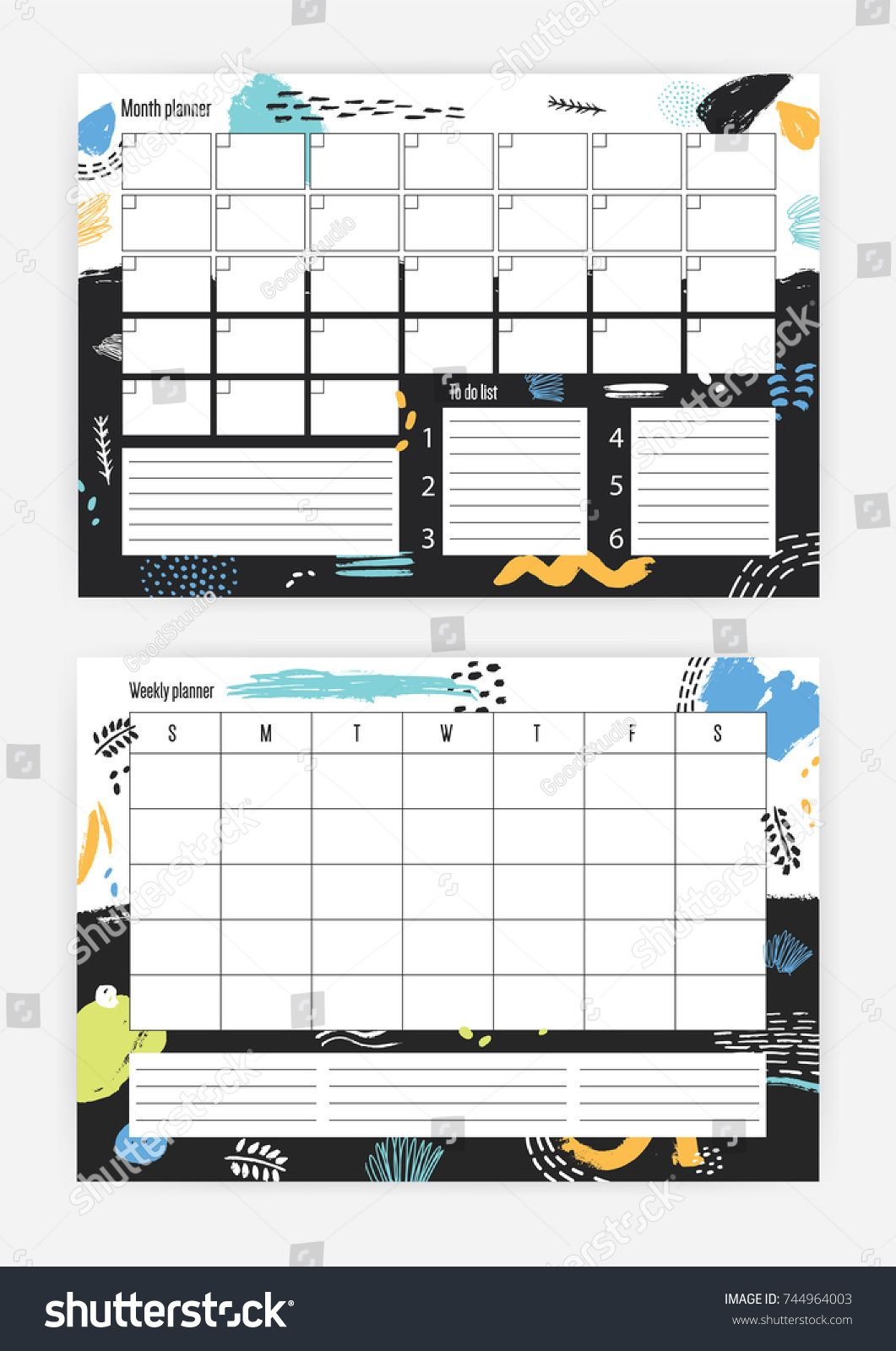 Set Of Horizontal Month And Weekly Planner Templates With Week