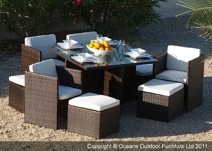 Haiti Rattan Outdoor Cube Dining Set In Coffee