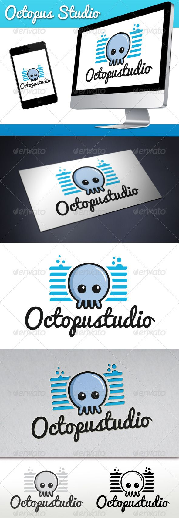 Octopus Studio Mascot Logo GraphicRiver Three color
