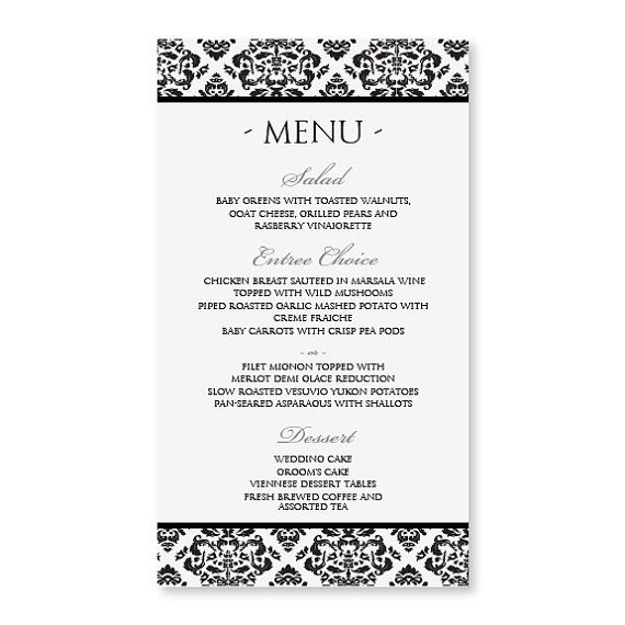 DIY Menu Card Template INSTANT DOWNLOAD by DiyWeddingTemplates - ms word menu template