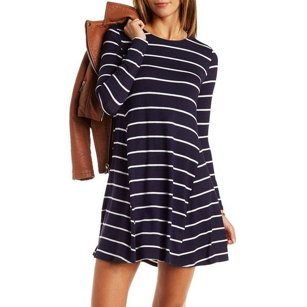 Charlotte Russe Striped Trapeze Shift Dress (€23) found on Polyvore featuring women's fashion, dresses, navy blue cmb, trapeze dress, purple long sleeve dress, purple dress, navy blue shift dress and navy long sleeve dress