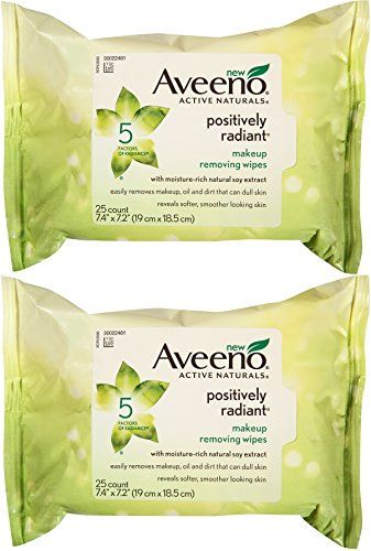 Aveeno Positively Radiant Makeup Removing Wipes, 25 Count (Pack of 2) ** For more information, visit image link.