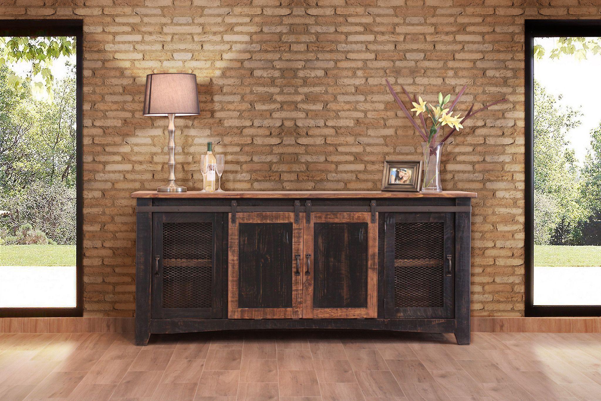 Greenview Sliding Door Distressed Black Tv Stand 80 Inch Tv Stand Wood Solid Wood Tv Stand Black Tv Stand